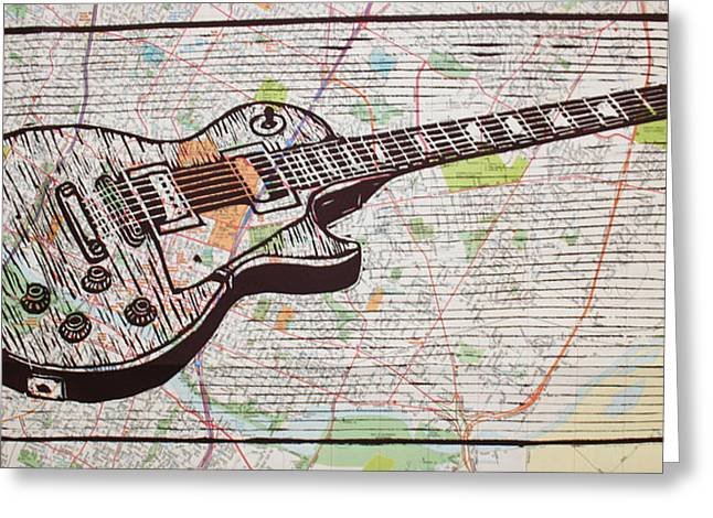 Lino Greeting Cards - Les Paul on Austin Map Greeting Card by William Cauthern