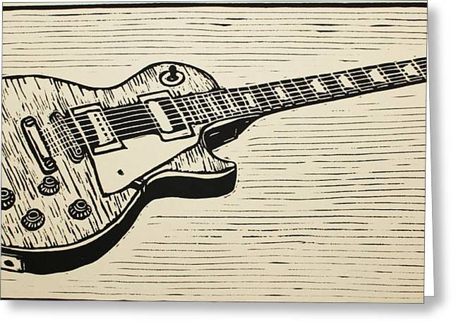 Lino Drawings Greeting Cards - Les Paul Greeting Card by William Cauthern