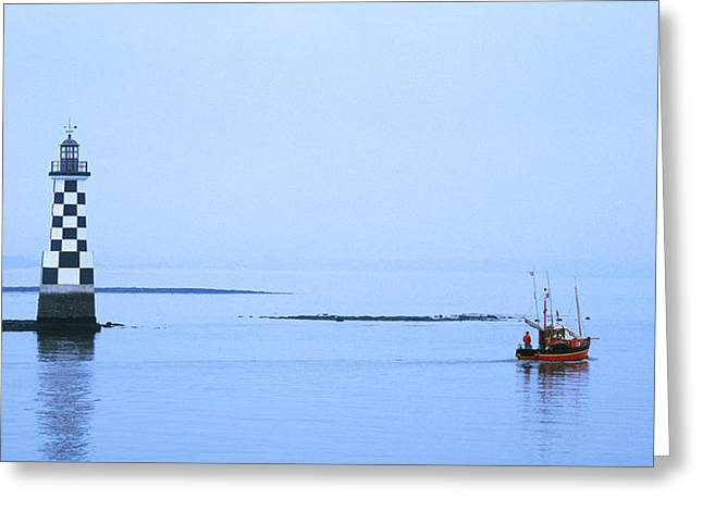Les Greeting Cards - Les Perdrix Lighthouse And Fishing Boat Greeting Card by Panoramic Images