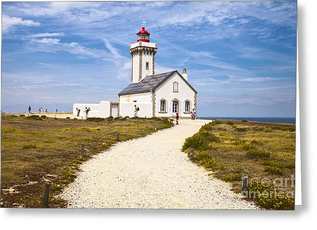 Les Poulains Lighthouse Belle Ile Brittany Greeting Card by Colin and Linda McKie