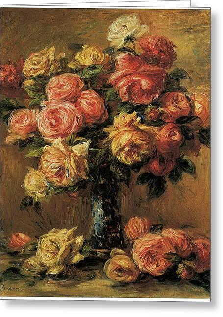 Renoir Greeting Cards - Les Roses dans un Vase Greeting Card by Pierre-Auguste Renoir