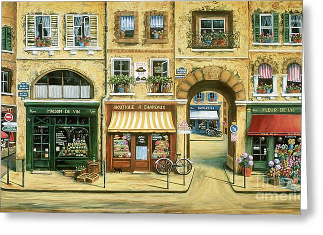 Paris Shops Greeting Cards - Les Rues de Paris Greeting Card by Marilyn Dunlap