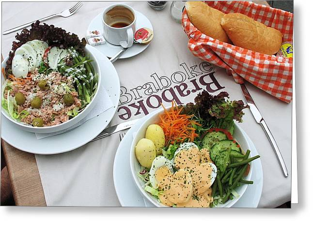 Al Fresco Greeting Cards - Les salades belgiques Greeting Card by Gerry Bates