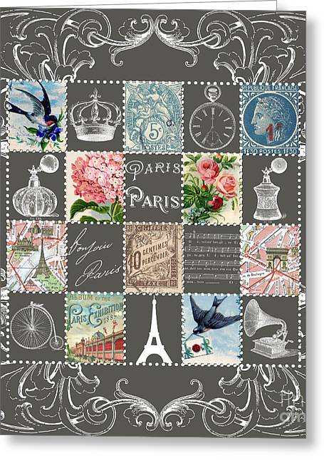 Victorian Greeting Cards - Les timbres 2 Greeting Card by Marion De Lauzun
