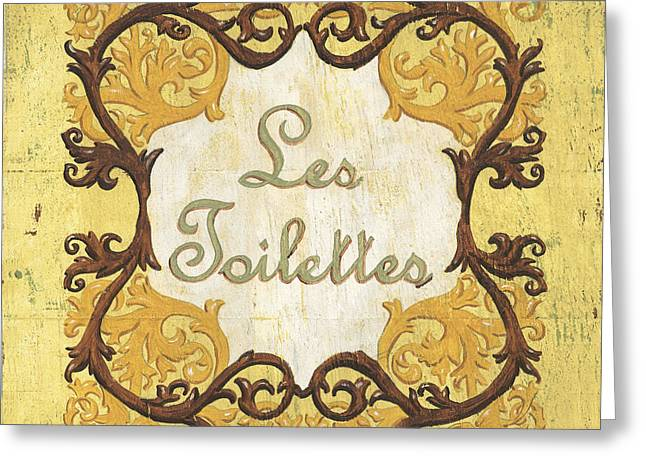 Antiques Sign Greeting Cards - Les Toilettes Greeting Card by Debbie DeWitt