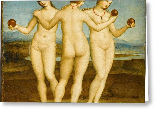 The Three Graces Greeting Card by Raphael