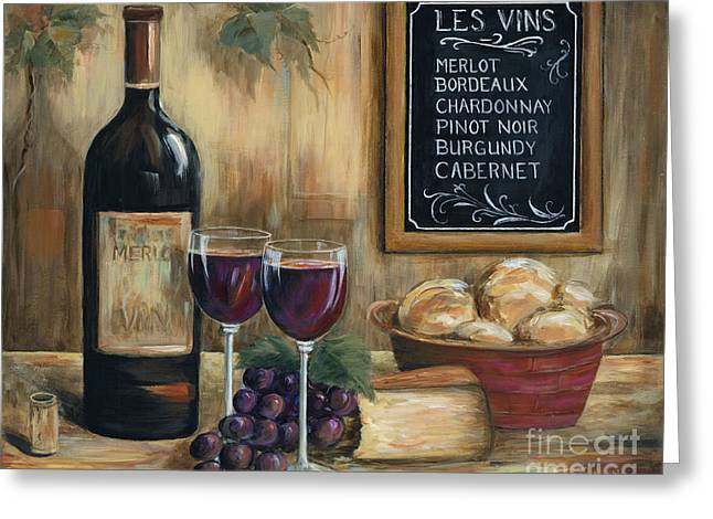 Glass Of Wine Greeting Cards - Les Vins Greeting Card by Marilyn Dunlap