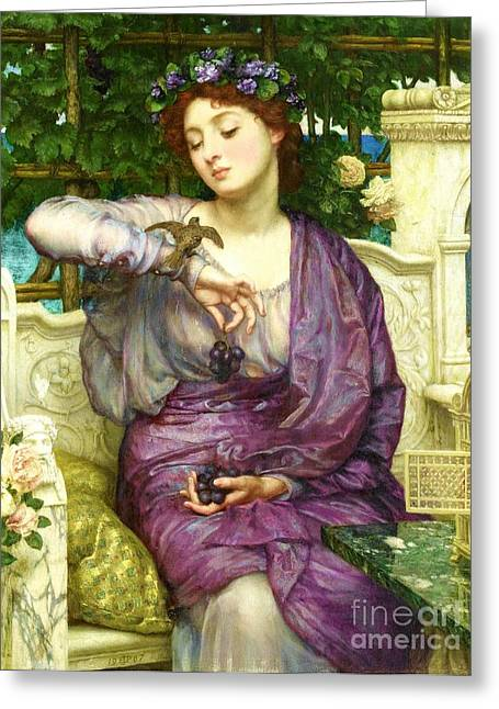 Poynter Greeting Cards - Lesbia and her Sparrow Greeting Card by Pg Reproductions