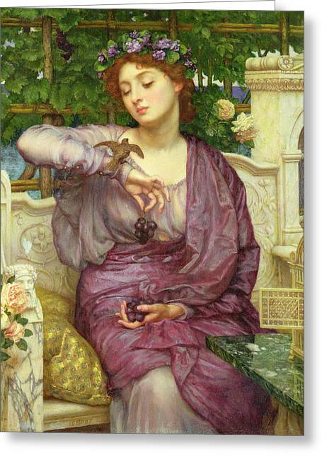 Cushion Paintings Greeting Cards - Lesbia And Her Sparrow Greeting Card by Sir Edward John Poynter