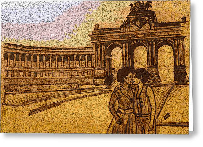 Interracial Art Greeting Cards - Lesbian Kiss in Belgium Greeting Card by Jasmine Wolfe