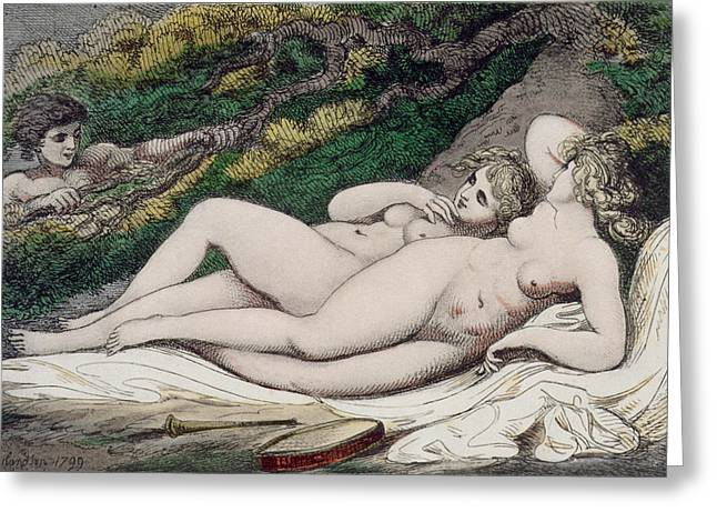 Odalisque Drawings Greeting Cards - Lesbian Lovers In A Wood Greeting Card by Thomas Rowlandson