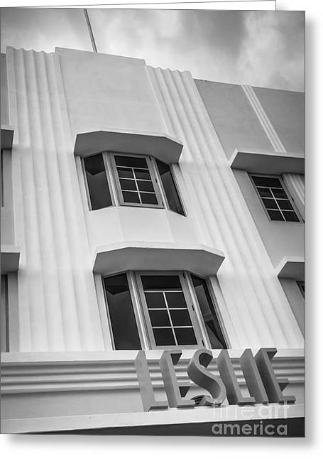 Lemon Art Greeting Cards - Leslie Hotel South Beach Miami Art Deco Detail 2 - Black and White Greeting Card by Ian Monk