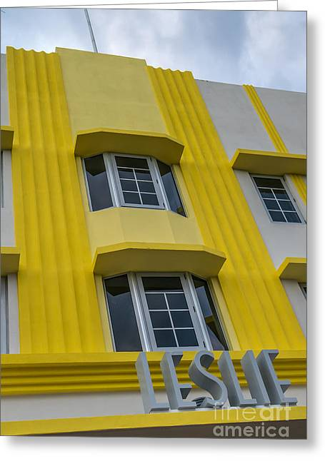 Lemon Art Greeting Cards - Leslie Hotel South Beach Miami Art Deco Detail 2 Greeting Card by Ian Monk