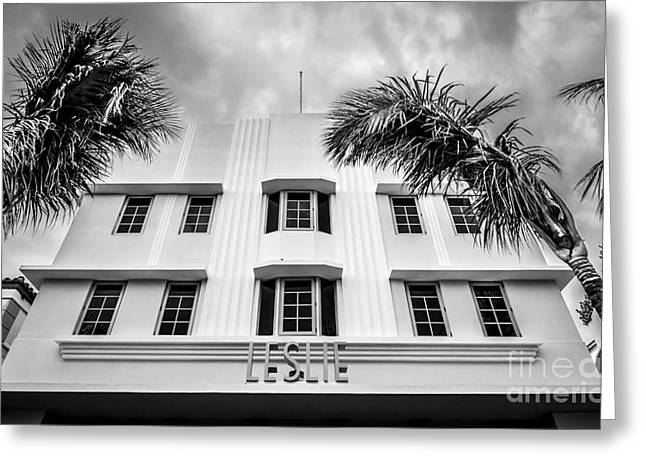 Historic District Greeting Cards - Leslie Hotel South Beach Miami Art Deco Detail - Black and White Greeting Card by Ian Monk