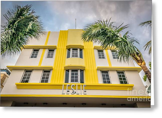 Leslie Hotel South Beach Miami Art Deco Detail - Hdr Style Greeting Card by Ian Monk