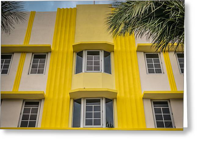 Leslie Hotel South Beach Miami Art Deco Detail - Square - Hdr St Greeting Card by Ian Monk
