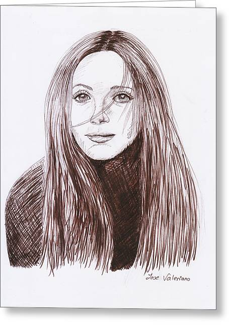 Ink Greeting Cards - Leslie Mann Greeting Card by Jose Valeriano