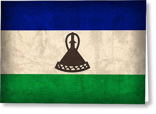 Lesotho Flag Vintage Distressed Finish Greeting Card by Design Turnpike