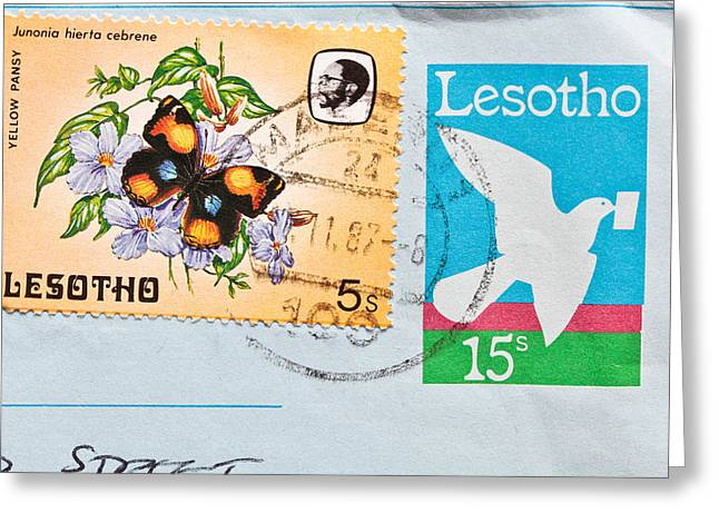 Envelop Greeting Cards - Lesotho stamp Greeting Card by Tom Gowanlock