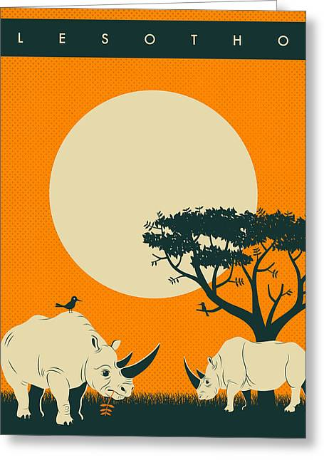 Sunset Posters Greeting Cards - LESOTHO Travel Poster Greeting Card by Jazzberry Blue