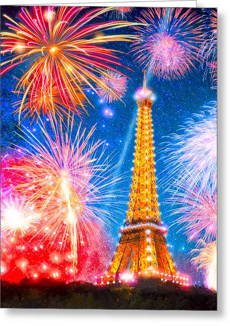 After World Greeting Cards - Lesprit de Paris - Eiffel Tower Fireworks Greeting Card by Mark Tisdale