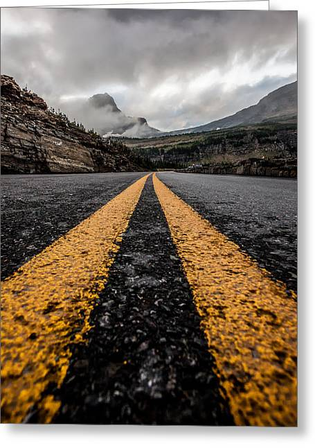Glacier National Park Greeting Cards - Less Traveled Greeting Card by Aaron Aldrich