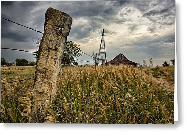 Prairie Landscape Greeting Cards - Less Traveled Greeting Card by Thomas Zimmerman