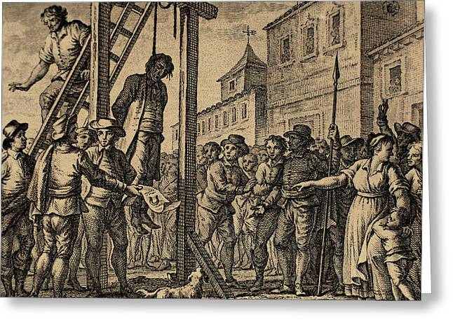 Tyrannies Greeting Cards - Lesser Antilles. Grenada. Governor Hanged. Engraving Greeting Card by Bridgeman Images