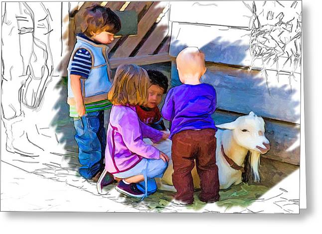 Lessons In Petting A Goat Greeting Card by John Haldane