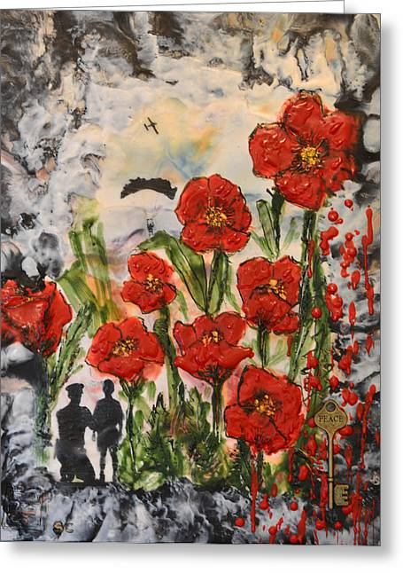 Flower Bombs Greeting Cards - Lest we Forget  Greeting Card by Sally Clark