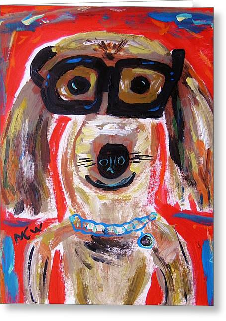 Collar Drawings Greeting Cards - Lester in Glasses Greeting Card by Mary Carol Williams