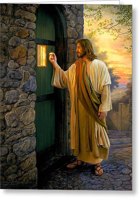 Jesus Christ Paintings Greeting Cards - Let Him In Greeting Card by Greg Olsen