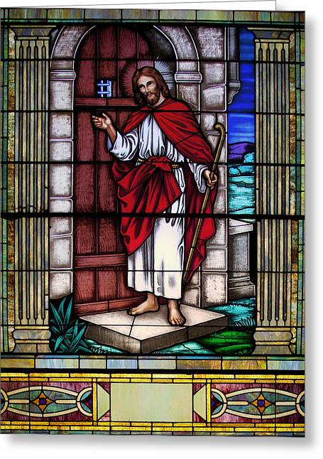 Jesus Glass Art Greeting Cards - Let Him into Your Heart Greeting Card by Mountain Dreams