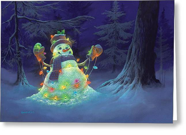 Snowman. Greeting Cards - Let it Glow Greeting Card by Michael Humphries