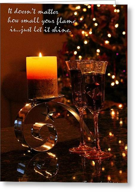 Wine Holder Photographs Greeting Cards - Let It Shine Greeting Card by Freda Nichols