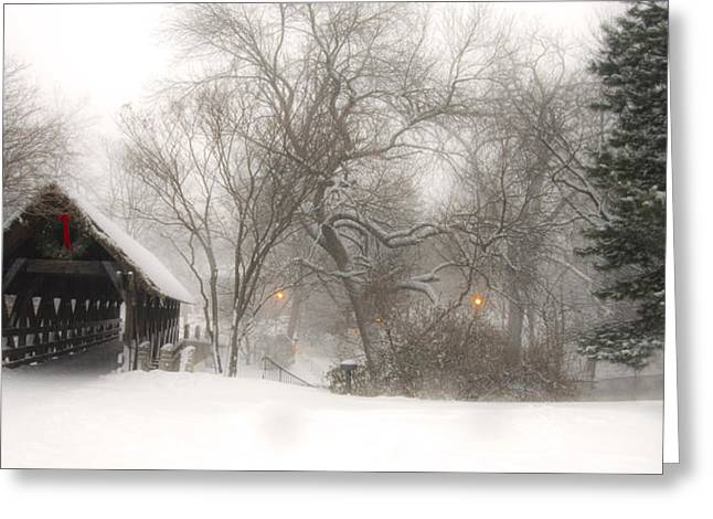 Covered Bridge Greeting Cards - Let it Snow Greeting Card by Andrew Soundarajan
