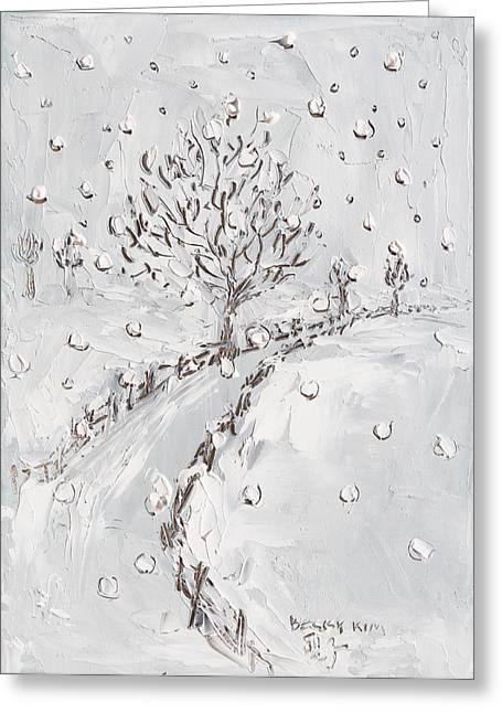 Pallet Knife Greeting Cards - Let It Snow Greeting Card by Becky Kim