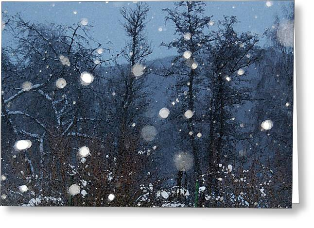 Snow-covered Landscape Greeting Cards - Let It Snow Greeting Card by Gina Dsgn