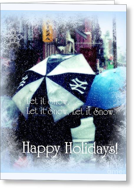 Best Sellers -  - Snowy Day Greeting Cards - Let it Snow - Happy Holidays - NY Yankees Greeting Card by Miriam Danar