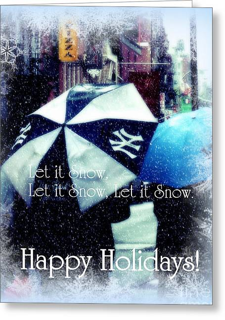 Let It Snow - Happy Holidays - Ny Yankees Holiday Cards Greeting Card by Miriam Danar