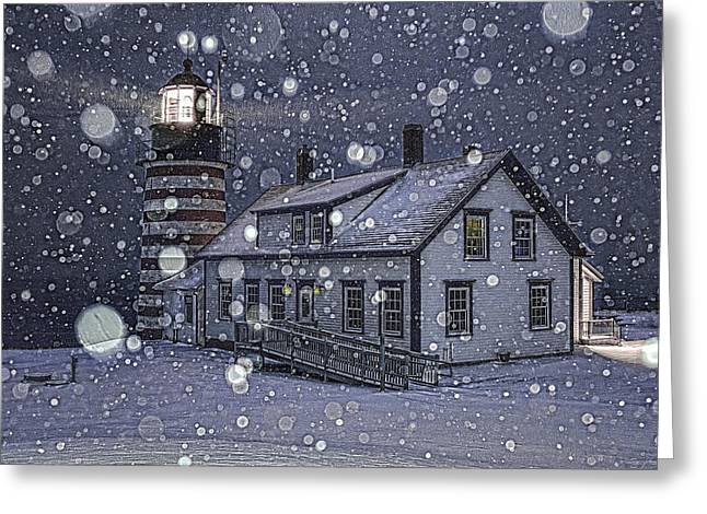 Recently Sold -  - Maine Lighthouses Greeting Cards - Let It Snow Let It Snow Let It Snow Greeting Card by Marty Saccone