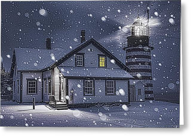 Maine Lighthouses Greeting Cards - Let It Snow Let It Snow Greeting Card by Marty Saccone