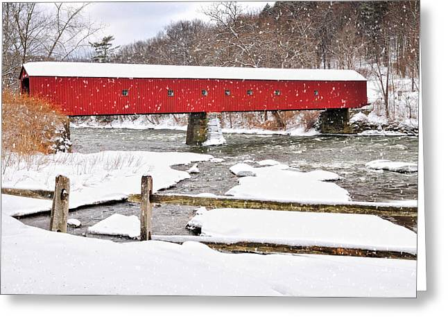 New England Village Scene Greeting Cards - Let It Snow-Let It Snow Greeting Card by Thomas Schoeller