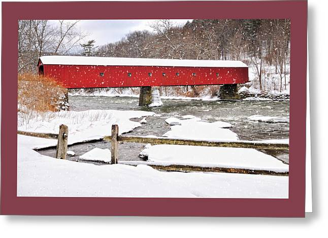 Falling Snow At The Idyllic Covered Bridge  Greeting Card by Thomas Schoeller