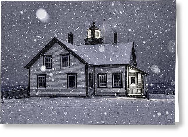 Maine Lighthouses Greeting Cards - Let it Snow Greeting Card by Marty Saccone