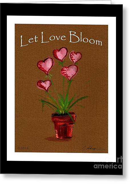 Wedding Salon Greeting Cards - Let Love Bloom.  Pink Heart Blossoms in terracotta pot  Greeting Card by Cathy Peterson