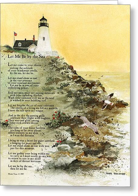 Lighthouse By The Sea Greeting Cards - Let Me Be By The Sea Greeting Card by Monte Toon