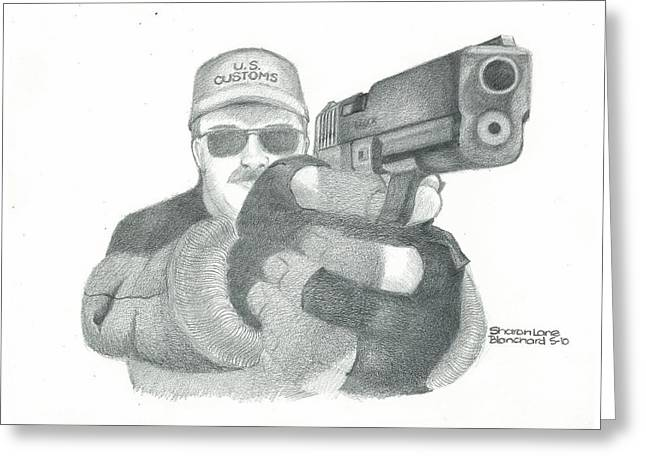 Police Officer Drawings Greeting Cards - Let me see your hands Greeting Card by Sharon Blanchard