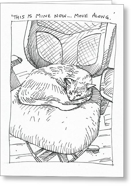Cat Drawings Greeting Cards - Let Sleeping Cats Lie Greeting Card by Steve Hunter