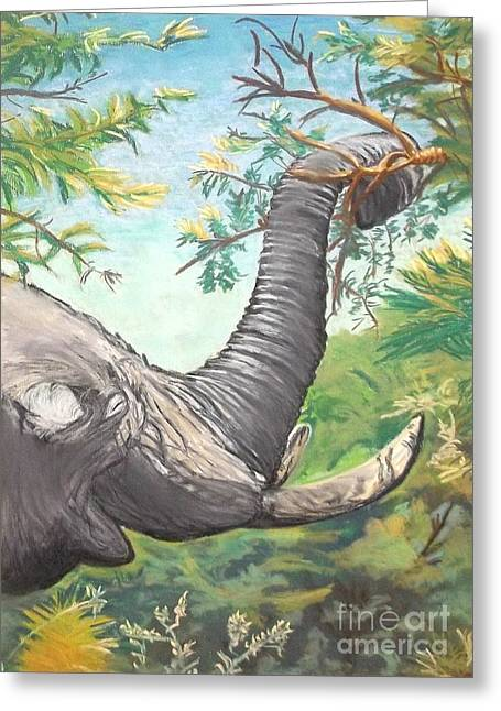 Zimbabwe Pastels Greeting Cards - Let the BIG GUY feed Greeting Card by Frank Giordano